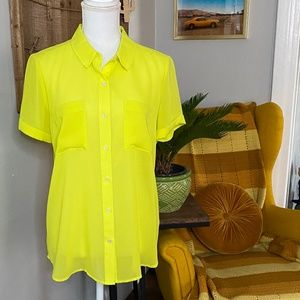 Halogen Neon Yellow Sheer Blouse Size Medium